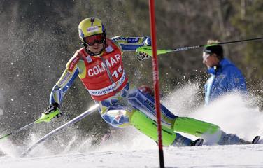 Slovenia's Valencic clears a gate during the men's Alpine Skiing World Cup Slalom race in Kranjska Gora
