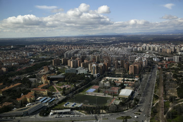 An aerial view shows a residential area in northern Madrid, Spain