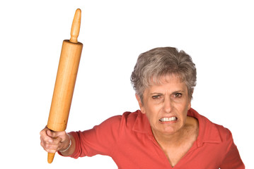 Angry mother and rolling pin