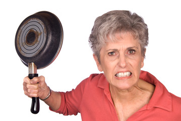 Angry mother and frying pan