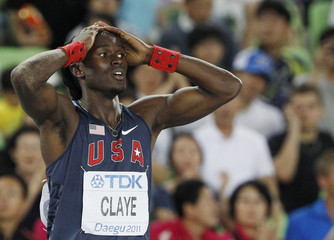 Will Claye of the U.S. reacts during the men's triple jump final at the IAAF World Athletics Championships in Daegu