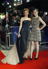 Actresses Andrea Riseborough and Katie McGrath arrive for the UK premiere of Madommas film W.E. during the BFI London Film Festival at Leicester Square in London
