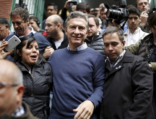 Mauricio Macri, presidential candidate of Cambiemos (Let's Change) leaves a polling station after casting his vote in Argentina's presidential elec