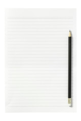 blank paper sheet with pencil isolated on white background