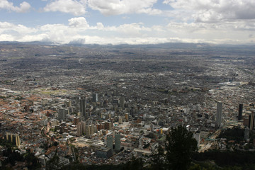 A view of Bogota city from its eastern mountains