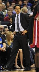 Miami Heat head coach Erik Spoelstra watches his team as the play the Orlando Magic in Orlando