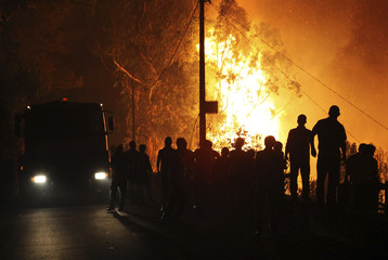 People look at a fire near Funchal, on the Portuguese island of Madeira