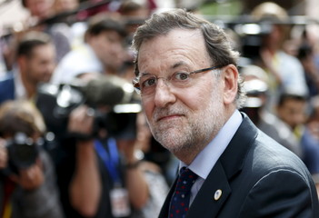 Spain's PM Rajoy arrives at an emergency euro zone summit in Brussels
