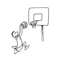 Outline illustration of a boy playing basketball