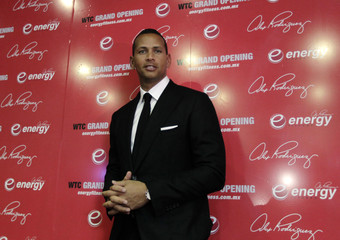 New York Yankees batter Rodriguez arrives to attend a news conference before he officiates the opening of his Energy Fitness gym in Mexico City