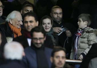 French UMP party deputy Kosciusko-Morizet attends the Champions League quarter-final first leg soccer match where Paris St Germain faces Barcelona at the Parc des Princes Stadium in Paris