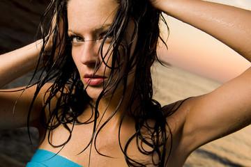 Beautiful woman at the beach.