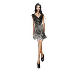Beautiful Black Hair Model Wearing Sparkling Designer Little Black Dress