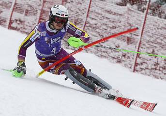 Kristoffersen of Norway competes during first run of men's Alpine Skiing World Cup slalom in Wengen