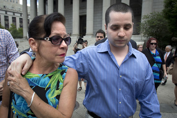 Former New York City police officer Valle and his mother Elizabeth leave a court in New York