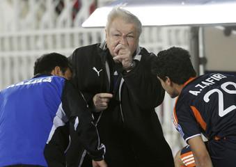 Milan Machala, coach of Kazma gestures during their Emir Cup final soccer match against Al Qadsia in Kuwait City