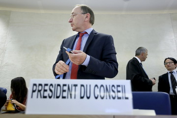 President of the United Nations Human Rights Council(UNHRC) Joachim Ruecker attends the 30th Session of the Human Rights Council at the United Nations in Geneva