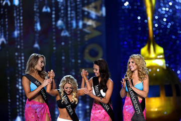 Miss Iowa Kelly Koch reacts to advancing in the competition during the 96th Miss America Pageant at Boardwalk Hall in Atlantic City, New Jersey