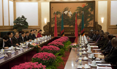 Zambian President Banda attends talks with Chinese President Hu in the Great Hall of the People in Beijing