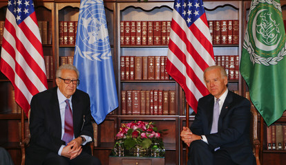 U.N. envoy Brahimi and US Vice-President Biden meet at the 49th Conference on Security Policy in Munich