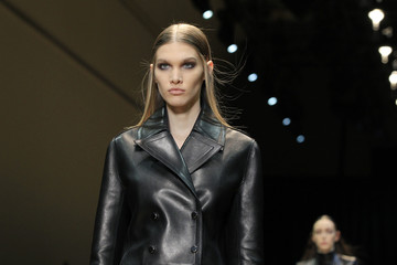 A model presents a creation by designer Marongiu as part of his Fall-Winter 2013/2014 women's ready-to-wear fashion show for Guy Laroche fashion house during Paris fashion week