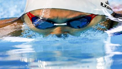Japan's Kanato competes in the women's 200m breaststroke heat at the Aquatics World Championships in Kazan