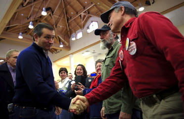 U.S. Republican presidential candidate Ted Cruz greets supporters at a campaign event in Barrington