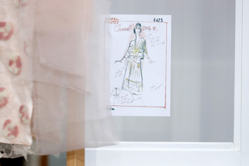 A drawing of a Haute Couture Chanel dress by German designer Karl Lagerfeld is seend during his Haute Couture Fall Winter 2016/2017 fashion show for Chanel in Paris