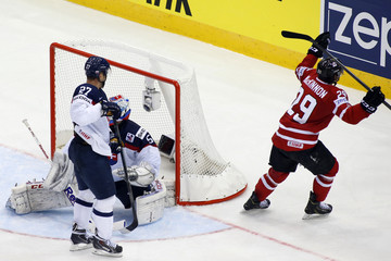 Canada's MacKinnon celebrates his goal against Slovakia during the third period of their men's ice hockey World Championship group A game at Chizhovka Arena in Minsk