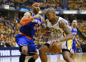 Indiana Pacers' West is guarded by New York Knicks' Martin during their NBA Eastern Conference playoff basketball game in Indianapolis