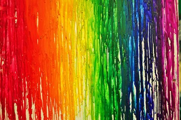 LGBTQ pride rainbow flag painted with colorful bleeding paint  streaks on a wall