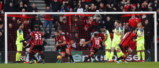 Bournemouth's Steve Cook celebrates scoring their third goal