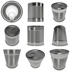 Aluminium can set with different views. 3D render of metal canned food isolated on white.