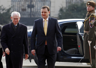 European Council President Van Rompuy is escorted by Czech PM Necas in Prague