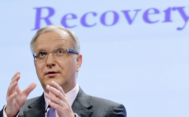 EU Economic and Monetary Affairs Commissioner Rehn addresses a news conference in Brussels
