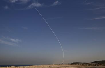 "An ""Arrow 3"" ballistic missile interceptor is seen during its test launch near Ashdod"