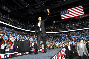 U.S. President Obama arrives at an election campaign rally in Columbus