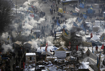 An aerial view shows anti-government protesters camping in Independence Square in central Kiev