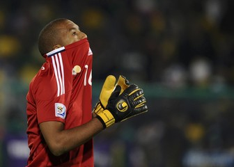 South Africa's goalkeeper Moeneeb Josephs leaves the field at half time during the 2010 World Cup Group A soccer match against Uruguay at Loftus Versfeld stadium in Pretoria
