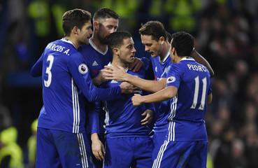 Chelsea's Eden Hazard celebrates scoring their second goal with team mates