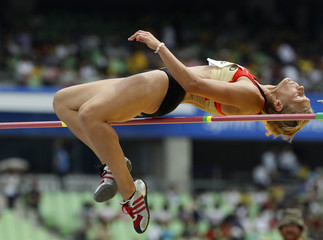 Oeser takes part in the high jump event of the heptathlon at the IAAF World Championships in Daegu