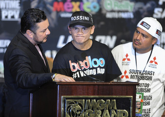 Marcos Maidana listens to a question during a post fight news conference after losing to Floyd Mayweather Jr. at the MGM Grand Garden Arena in Las Vegas