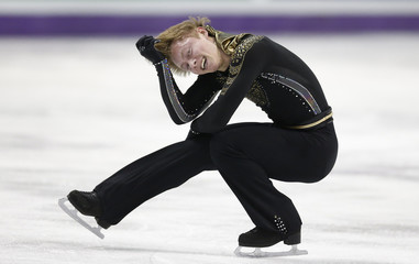 Alexander Majorov of Sweden performs his men's free program at the ISU World Figure Skating Championships in London