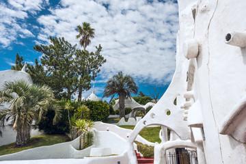 View of Casapueblo, a unique landmark building created by the famous artist Carlos Paez Vilaro, located near Punta del Este in Atlantic Coast of Uruguay