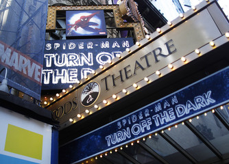 """The marquee for the Broadway show """"Spider-Man: Turn Off The Dark""""  is seen outside the Foxwoods Theatre in New York"""