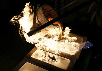 Ingots of 99.99 percent pure silver are cast at the Krastsvetmet Krasnoyarsk non-ferrous metals plant in the Siberian city of Krasnoyarsk, Russia