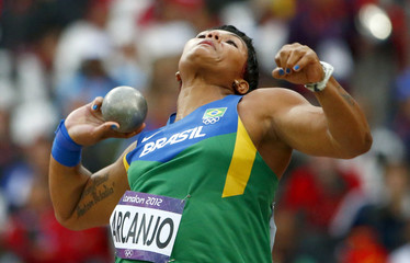 Brazil's Geisa Arcanjo competes in the women's shot put final at London 2012 Olympic Games