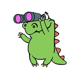 Cute dinosaur looking through binoculars. Vector illustration.