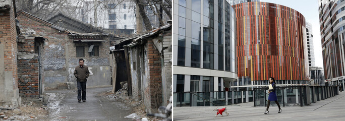 A combination photograph shows a man walking on a alley at a half-demolished old residential site Beijing and a woman walking with her pet dog at a residential and commercial complex in a wealthy district in Beijing