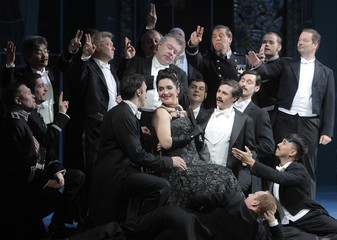 Reinprecht performs as Glawari during a dress rehearsal of Lehar's operetta Die Lustige Witwe The Merry Widow in Volksoper theatre in Vienna